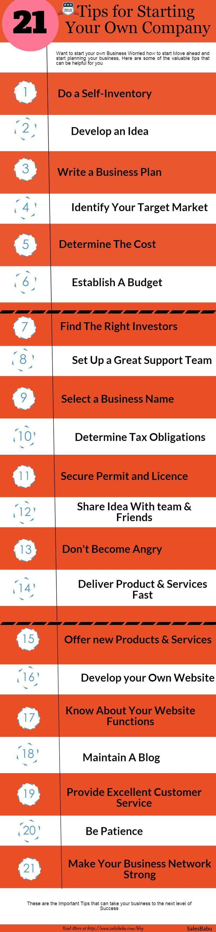 21 Tips for Starting Your Own Company