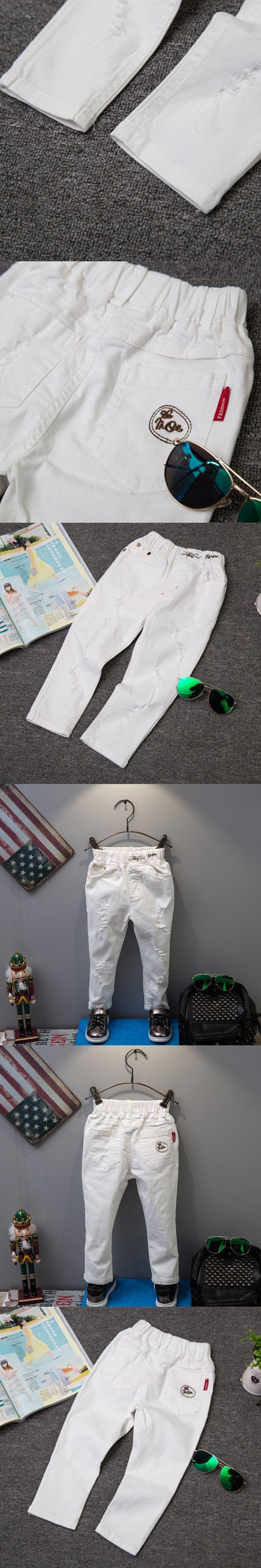 Spring New Brand Korean Style Baby Boys Jeans Pants Fashion Kids Ripped Jeans Boys Soild White Denim Pants Baby Jeans Trousers