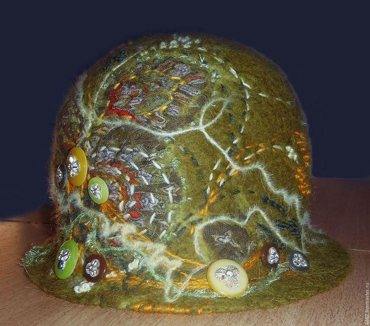 """Купить Шляпа """"Бургундский лес"""" - оливковый, абстрактный, шляпа, шляпка женская, Шляпа валяная"""