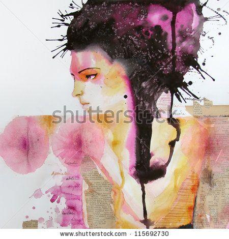 Stock images - watercolor portrait of...