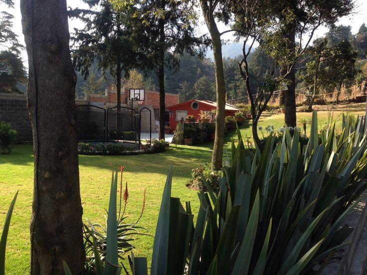 Hermoso Jardín rodeado de árboles para eventos en Tlalpan D.F. Informes 58-49-39-38