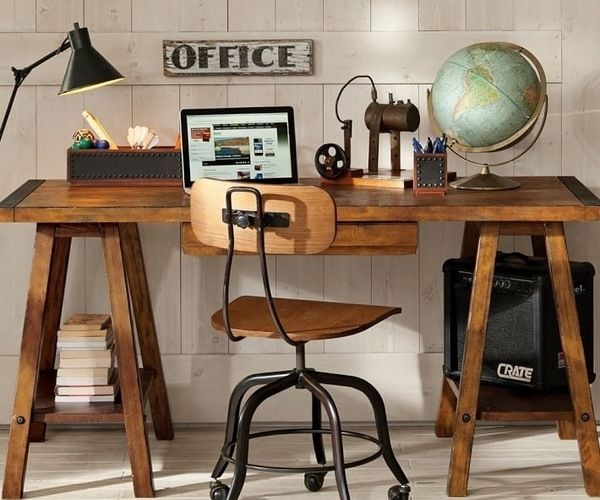 Sawhorse Desk Design Ideas Industrial Style Office Design Home Office Office Desk Designs Desk Design Simple Desk