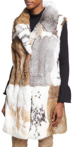 Co Long Patchwork Rabbit Fur Vest, White