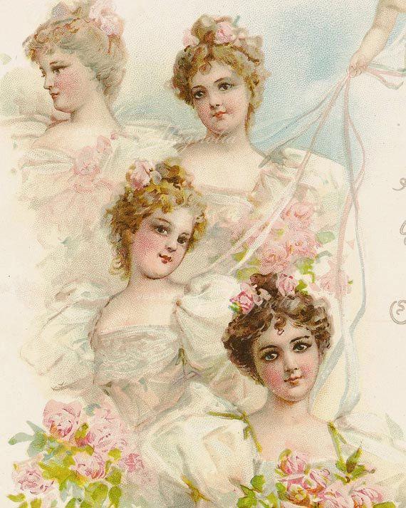 Printable Bridesmaids Frances Brundage Illustration - Digital Download - Vintage Graphic Design Image - Wedding Cottage Shabby Chic - CU