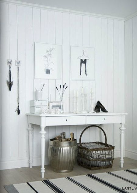 like this idea for the end of the front hall; basket for hats and gloves balanced with shiny bucket