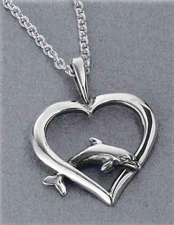 Sterling Silver Dolphin Heart Pendant Necklace by Kabana Jewelry