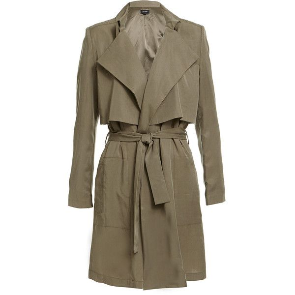 Draper Trench ($110) ❤ liked on Polyvore featuring outerwear, coats, jackets, tops, brown trench coat, brown coat and trench coat