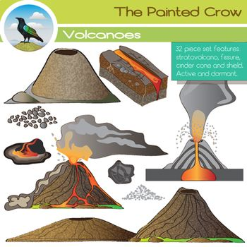 Create a great earth science / geology resource with this 32 piece volcano clip art set, featuring a stratovolcano, cinder cone volcano, shield volcano, and volcanic fissure. Three versions of each are included: dormant, active, and internal diagram.