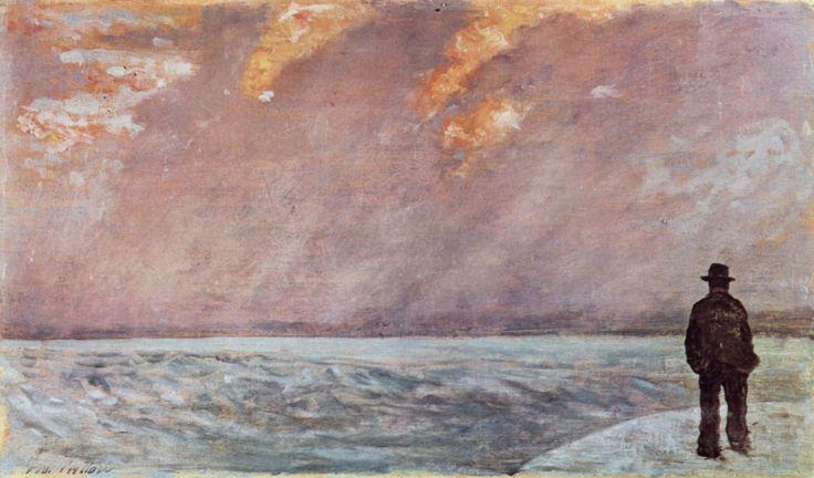 """""""Tramonto sul mare"""", Giovanni Fattori, 1890-95; olio su tela, 19x33 cm; esposto alla Galleria d'arte moderna, Firenze."""