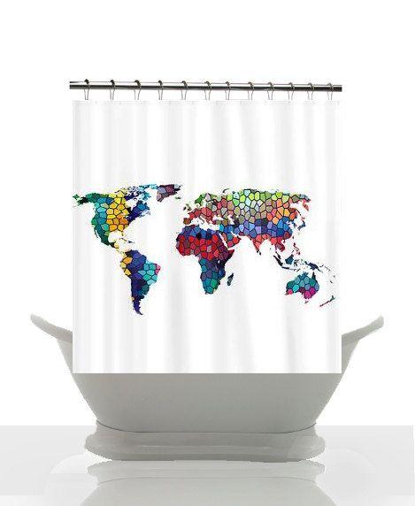 30 best Artistic shower curtain images on Pinterest Shower - best of world map bathroom decor