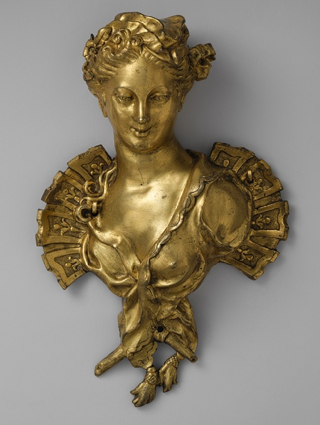 *Female bust, second quarter of 18th century. French. Gilt bronze .