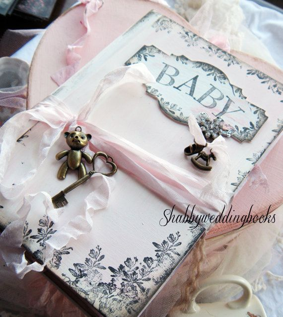 baby girl shabby chic vintage styled memory book pink