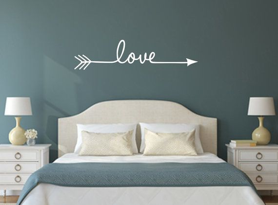 Love with Hand Drawn Split Arrow Vinyl Wall by WallArtShowcase