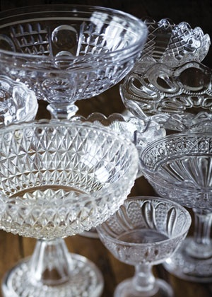 clear vintage pressed glass