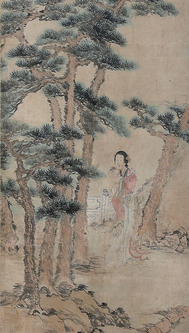 오원 장승업 (1843-1897), 미인도, 1892년 작, 수묵채색화.