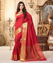 Red Color Tusser Silk Festival & Party Wear Sarees : Pranali Collection  YF-40693
