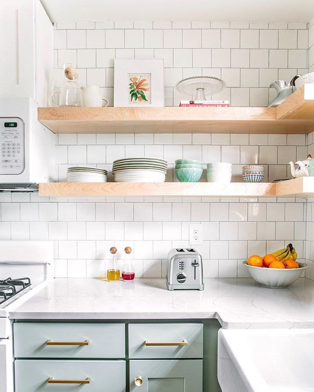 open shelving and light green cabinets kitchen inspiration and ideas