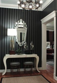 black wall paper to add texture and interest