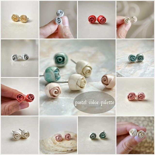 Oh sweet spring! Dreamy pastel rose studs, by Jasmin Blanc studio.:
