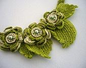 Crochet mão frisada Colar de algodão, brincos e anel - Rosas Românticas Definir