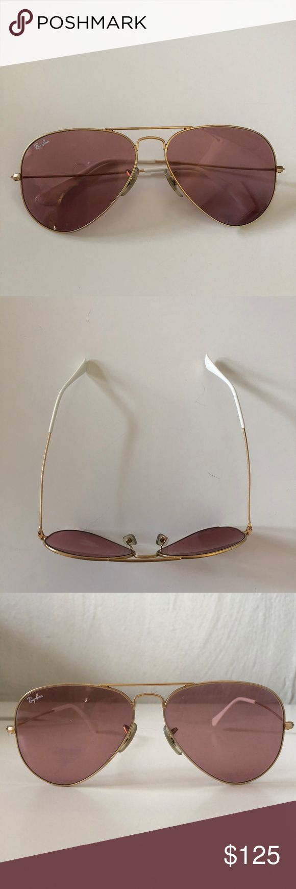 Ray-Ban Pink Aviator Sunglasses with Gold Detail Ray-Ban Aviator Sunglasses in Pink Tint with Gold rim details and White customized ends (not clear - customized the white by myself) Non-polarized (sorry). The cutest sunglasses with a pink bathing suit or just to add a hint of color to a colorless outfit, get nothing but compliments on these! I have had for 3 years but excellent condition and no scratches on lens. Also comes with Case!  Ray-Ban RB3025 Aviator sunglasses are great for any…
