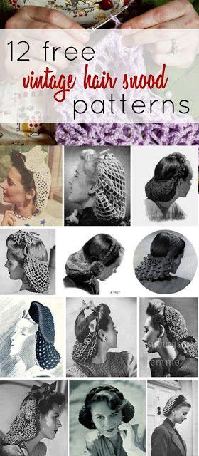 12 Free Vintage Snood Knitting and Crochet Patterns (Va-Voom Vintage)