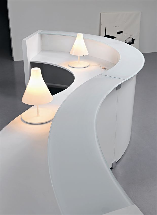 Mondolo Wave Shaped Reception Desks With Solid Surface Counter Top
