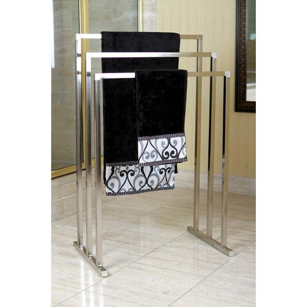 $67 Pedestal Satin Nickel 3-tier Iron Towel Rack