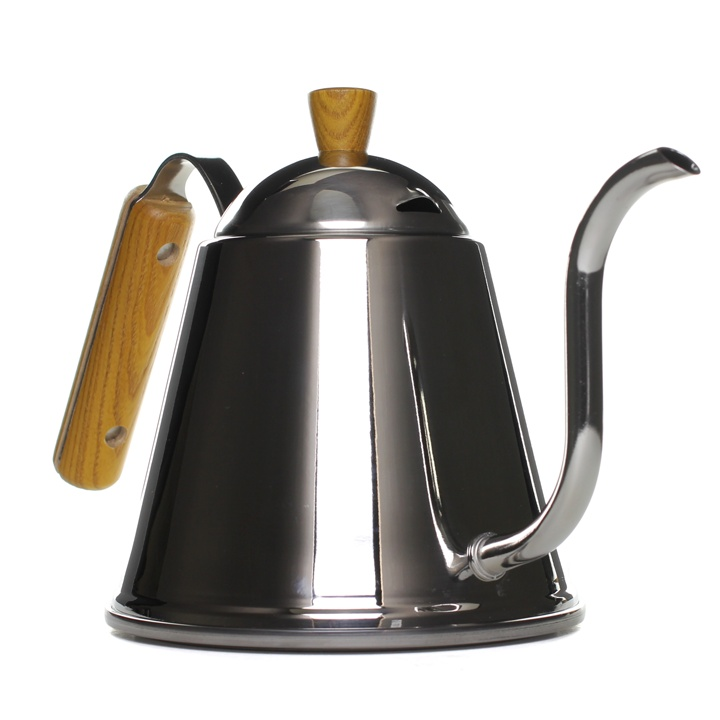 Pour-Over Kettle - If your looking for control and precision when preparing your daily brew than we have what you need. This stainless steel kettle will give you the perfect pour every time. The long slender spout forces a narrow controlled stream of water providing an even soak to your coffee grinds. Boil your water directly on the stove - the wooden handle and knob will protect your hands from any scalding. An essential Chemex companion.