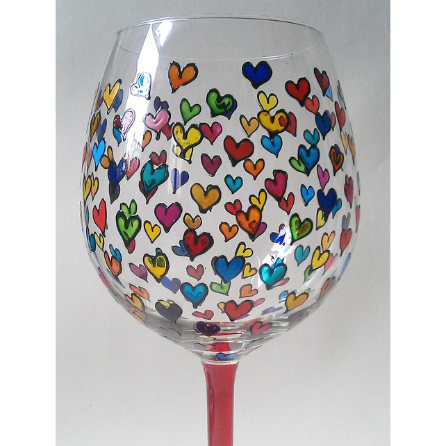 Artist Hand Painted Wine Glass with Heart Design £12.99