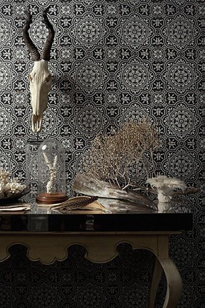Loving the mosaic tile wallpaper