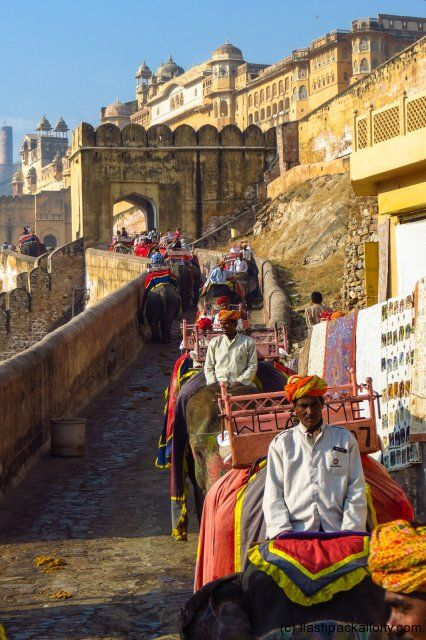 Jaipur, India - This is the Amber Fort elephant train that we rode up to the fort.