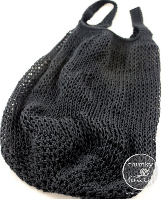 knit market bag  crochet market tote  reusable bag  by ChunkyKnitz