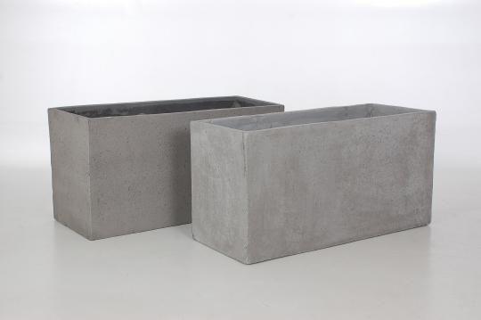 "2er Set Pflanztröge aus Beton, Faserbeton porös ""Maxi"" 100cm grau"