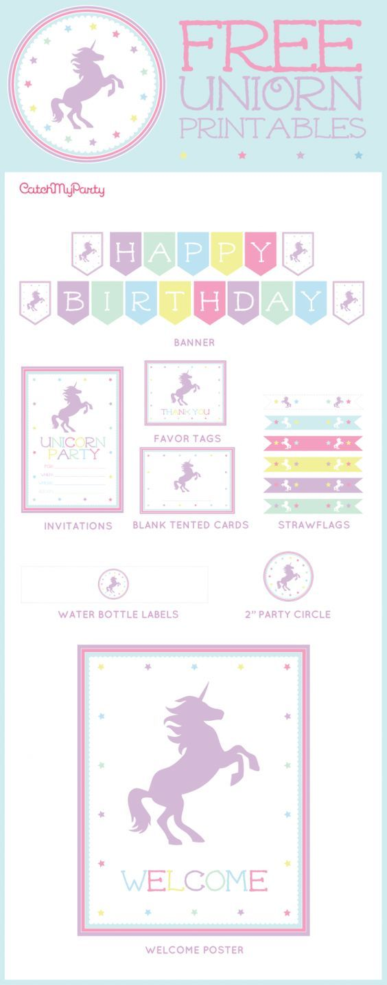 Free Unicorn Party Printables for your unicorn birthday parties, baby showers, bridal showers, or any type of party! There are printable invitations, cupcake toppers, a welcome sign, a happy birthday banner, and more! | CatchMyParty.com