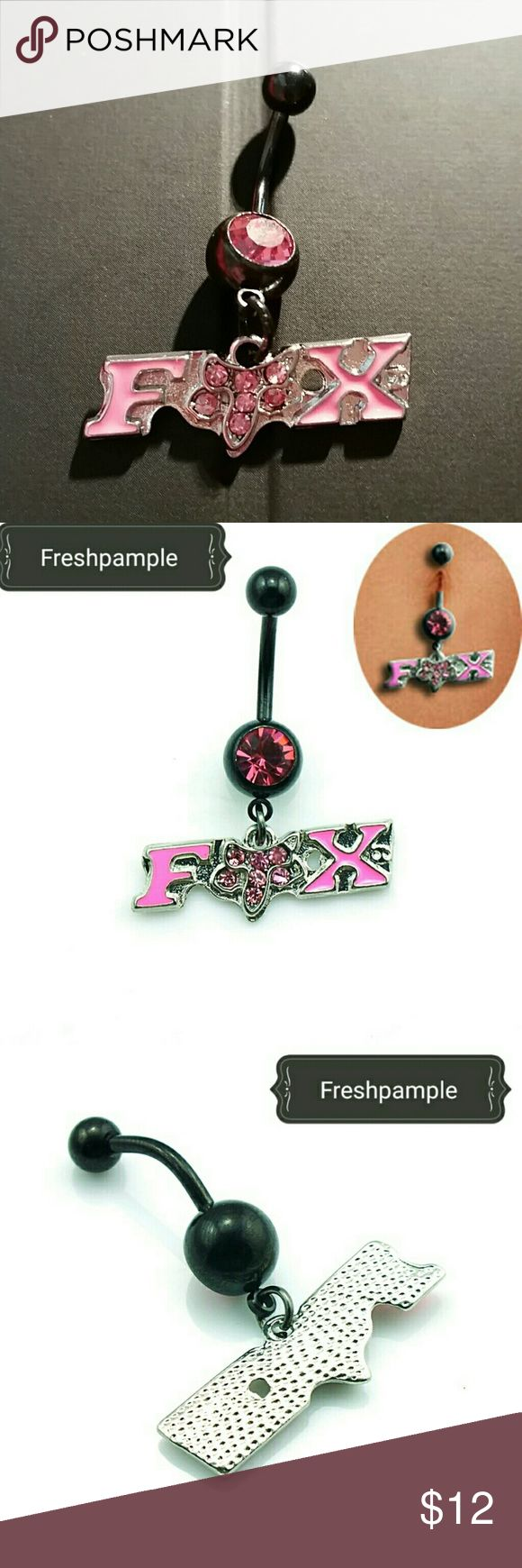 "NEW Fox Racing Black & Pink Crystal Navel Ring Brand new, hot pink cz crystal rhinestone on the bottom & Fox Racing logo dangle charm with hot pink pave crystal fox, standard 14g, 7/16"" black surgical grade stainless steel curved barbell / banana for navel (belly button) piercings. Shown in last pic with a dime for size reference.   Lots more new body jewelry in my closet!  Thank you for visiting, and happy poshing!! :)  SORRY, NO TRADES  BUNDLE & SAVE! Jewelry"