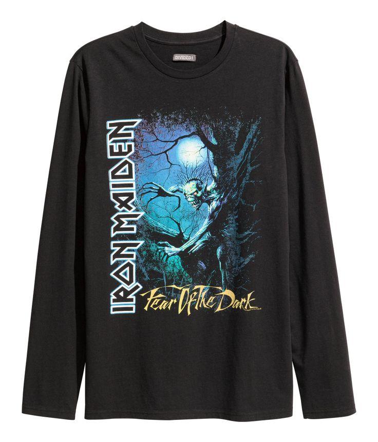 Shirt met lange mouwen | Zwart/Iron Maiden | Heren | H&M NL