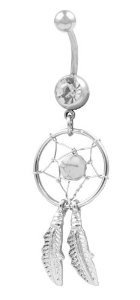 #2: Sterling Silver Clear Dream Catcher Belly Button Navel Ring
