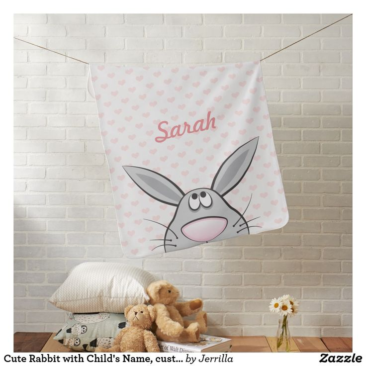 Cute Rabbit with Child's Name, custom color hearts Puckdecke