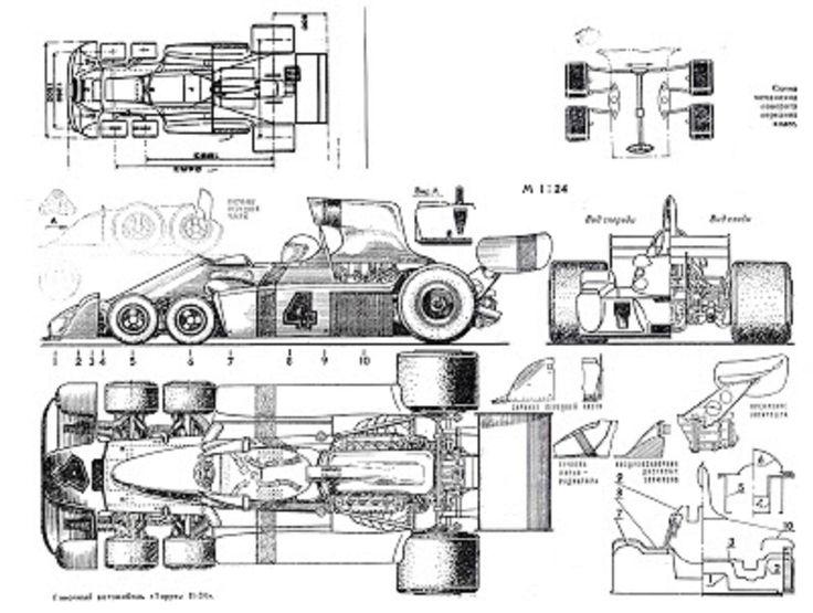Tyrell P34 Schematic 1 F1 Tyrrell P34 Six Wheeler