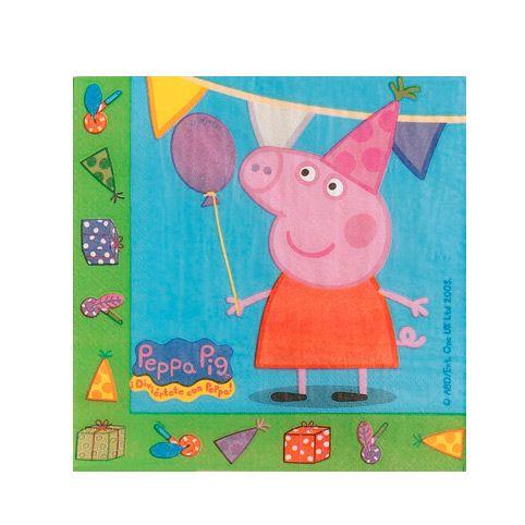 Set van 20 2-laags Peppa Pig servetten. Afmeting: 33 x 33 cm - Peppa Pig Servetten, 20st.