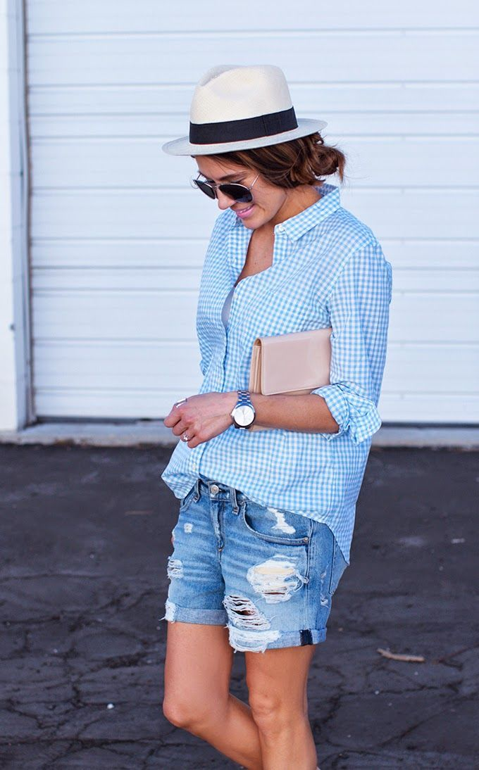 distressed shorts and light blue gingham summer outfit inspiration | Hello Fashion