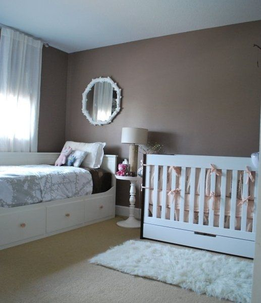 Love all the hidden storage in this @IKEA USA daybed and @Nursery Works crib! #nurseryWall Colors, Ideas, Shared Room, Small Room, Nurseries, Guest Bedrooms, Twin Beds, Baby Room, Guest Rooms