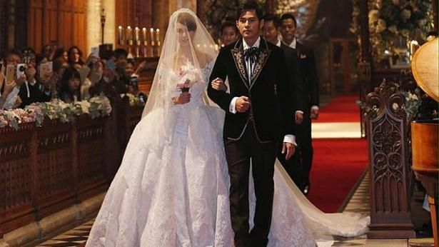 Jay Chou and Hannah Quinlivan walking down the aisle in Selby Abbey, Yorkshire. PHOTO: FACEBOOK / JAY CHOU