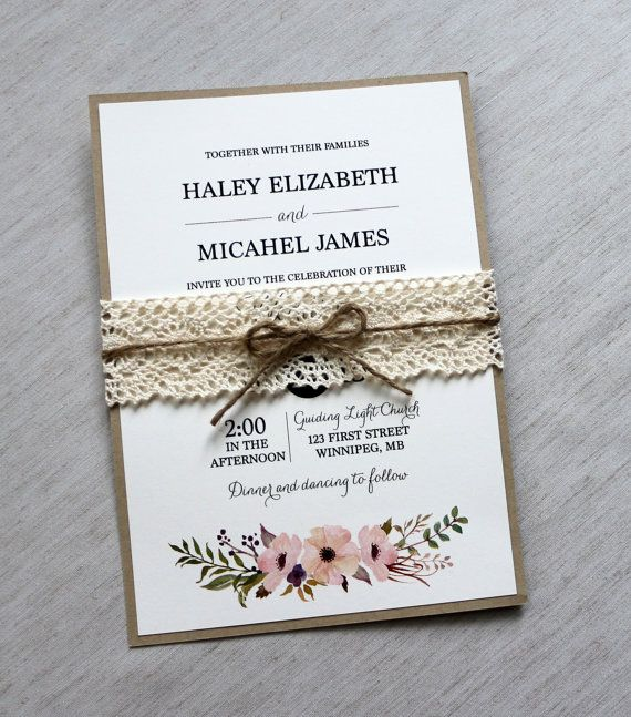Vintage Wedding Invitation Lace Wedding by LoveofCreating on Etsy