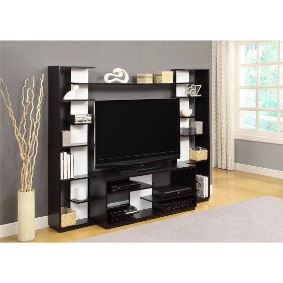 Altra Black And White Home Entertainment Center With Two Reversible Back Panels For Tvs Up To 45 КМ Гостиные Pinterest