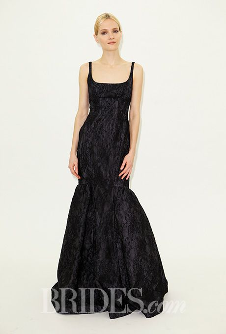 A sleeveless black gown with a trumpet hem by Truly Zac Posen | Brides.com