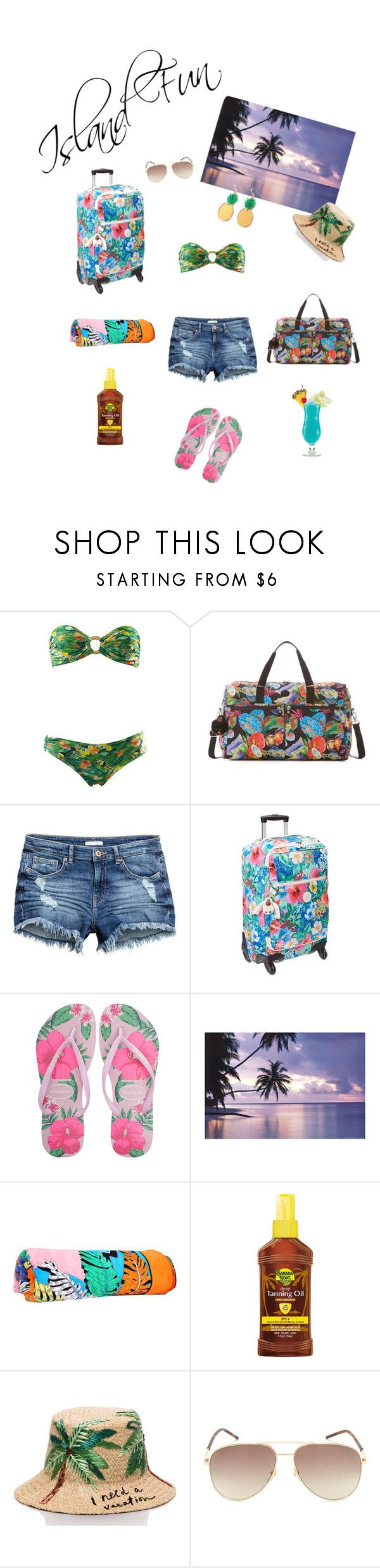 """""""Island Fun - By DreamCloset"""" by dreamclosetx4 ❤ liked on Polyvore featuring Kipling, Havaianas, Emilio Pucci, Banana Boat, Kate Spade, Marc Jacobs and Finest Imaginary"""
