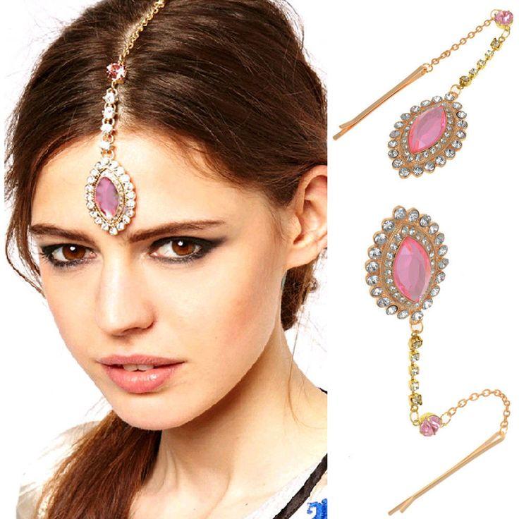 Lady Party Wedding Flower Crystal Bindi Hair Tikka Clip Indian Head Jewelry New