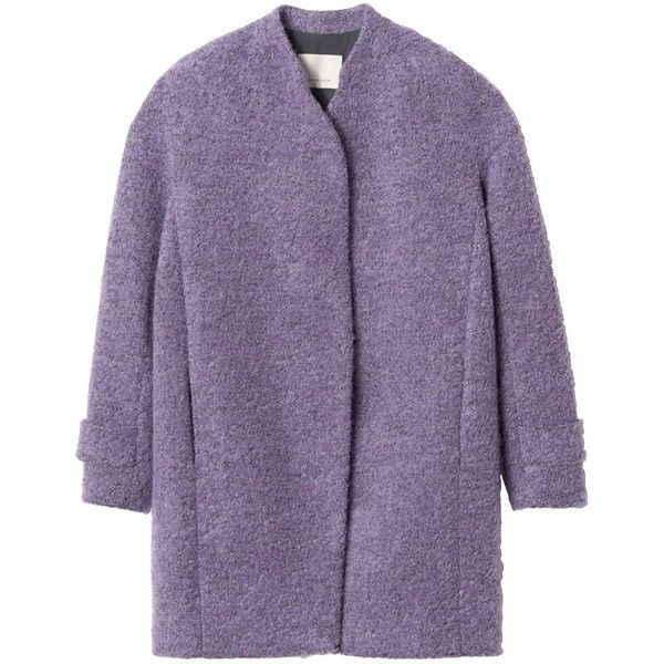 Rebecca Taylor Boucle Cocoon Coat (7 035 UAH) ❤ liked on Polyvore featuring outerwear, coats, jackets, coats & jackets, thistle, over coat, rebecca taylor, rebecca taylor coat, cocoon coat and purple coat